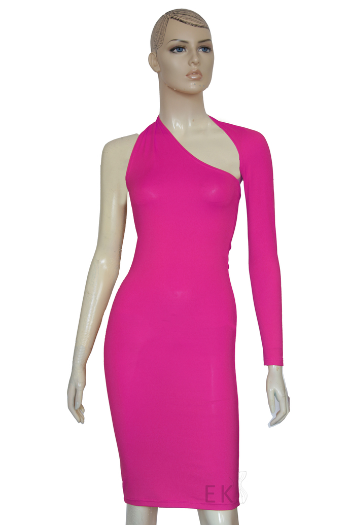 One Shoulder Pencil Dress Long Sleeve Hobble Dress Hot Pink Open Back Dress Plus