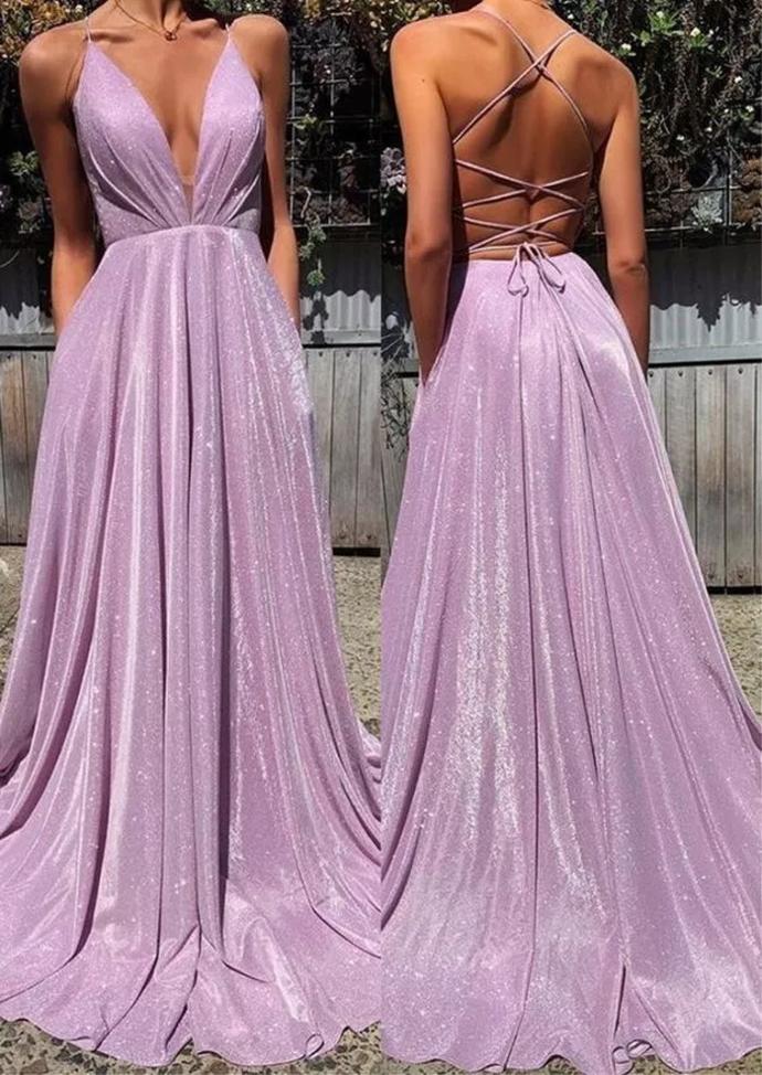 Spaghetti Straps A-line Sparkly Deep V-neck Prom Dress Evening Dress F5902