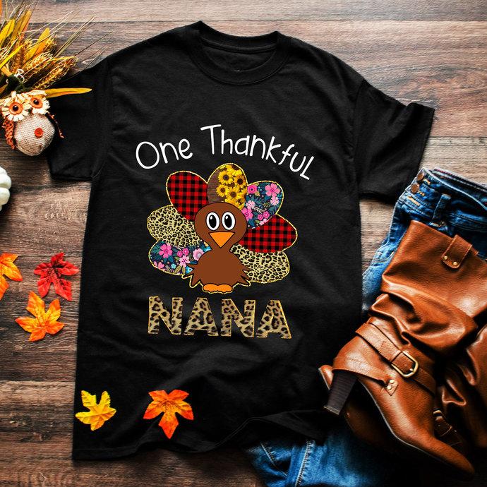 One Thankful nana, nana, mothers gift, mother shirt, thanksgiving, thanksgiving