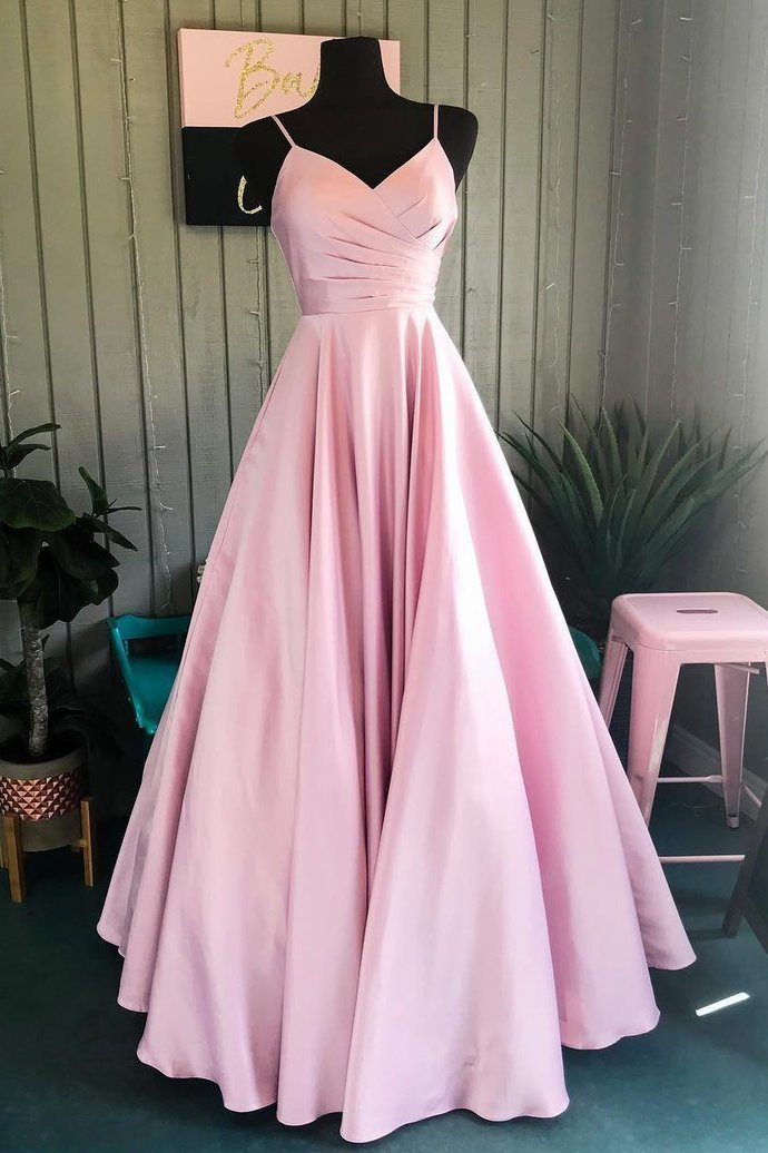 Elegant Evening dresses Pleated A-Line Pink Long Prom Dress Hot D1285