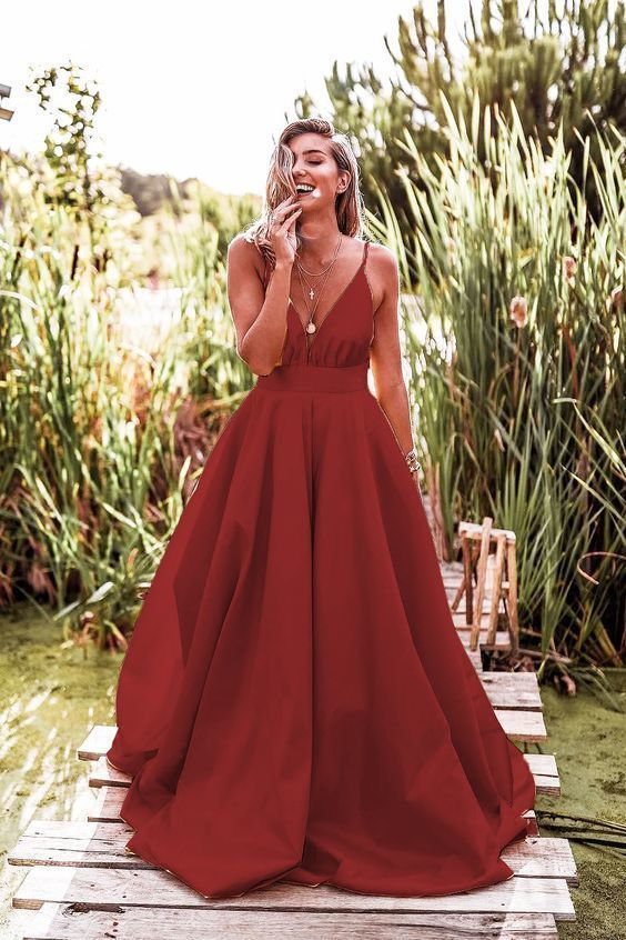 Spaghetti Straps V-Neck Ruched Long Prom Dress Long Prom Dress Hot D2650