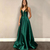 Green Junior Long Prom Dresses with Pockets Ball Gowns Sweep Train Open Backs