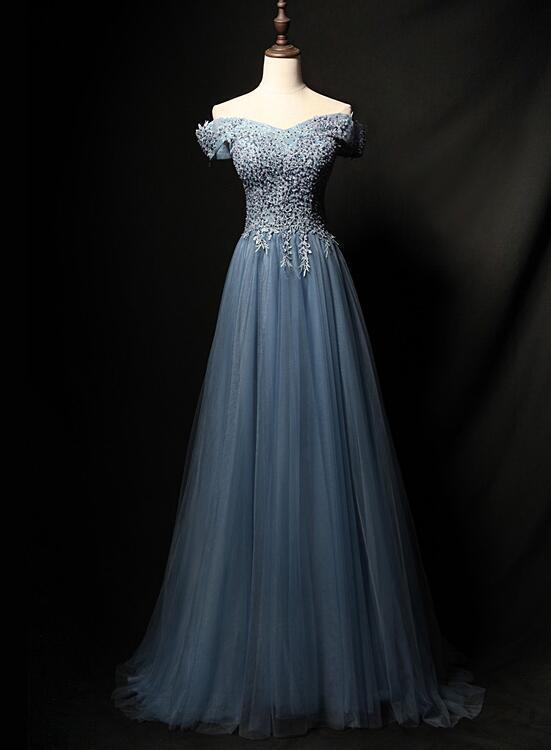 Blue Beaded Long Prom Dress 2020, Off Shoulder Tulle Formal Dress