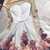 A Line White Floral Prom Dresses Short White Floral Graduation Homecoming Dress