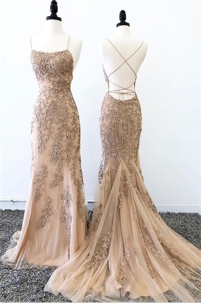 Beautiful Spaghetti Straps Long Mermaid Backless Lace Prom Dresses