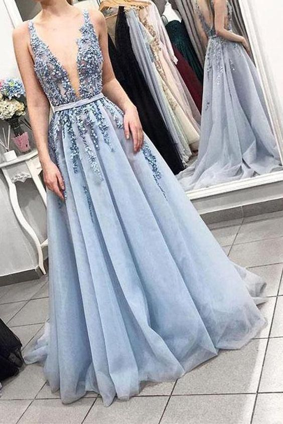 Blue V neck Tulle Beads Long Prom Dresses Appliques Evening Dress Cheap G2950
