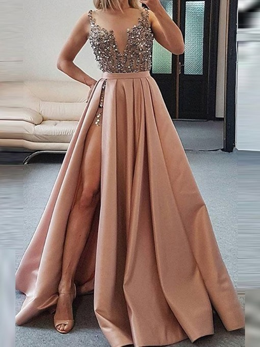 Sexy V Neck Dark Pink Beaded Satin 2020 Prom Dresses Evening Dresses with High
