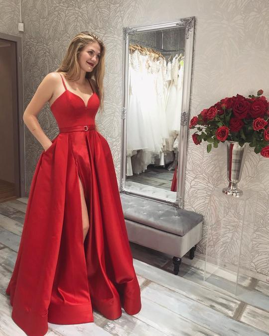 SIMPLE RED PROM DRESSES, LONG PROM DRESS, PROM DRESS WITH SLIT