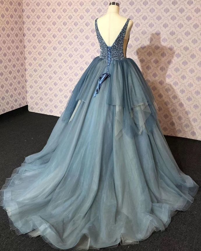 Chic V neck Slate Blue Beaded Long Prom Dress Evening Dresses,