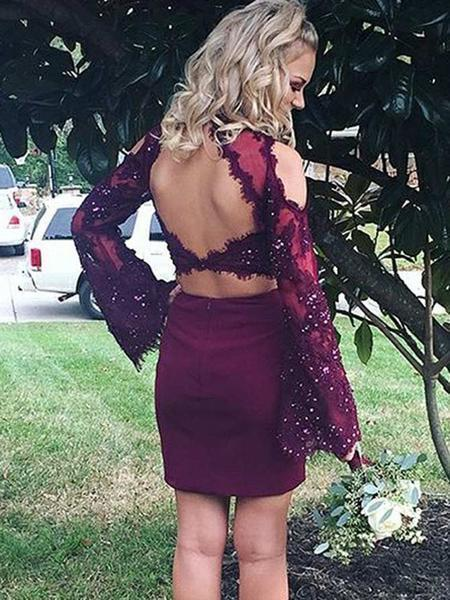 New Arrival Two Pieces Round Neck Long Sleeves Homecoming Dresses With Beading