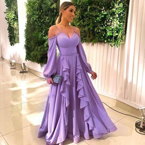 Sexy purple A Line Prom Dress, Chiffon Long Evening Party Gown