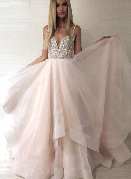 Copy of Champagne V Neck Tulle Beaded Long Prom Dress Hot Evening Dress G2950