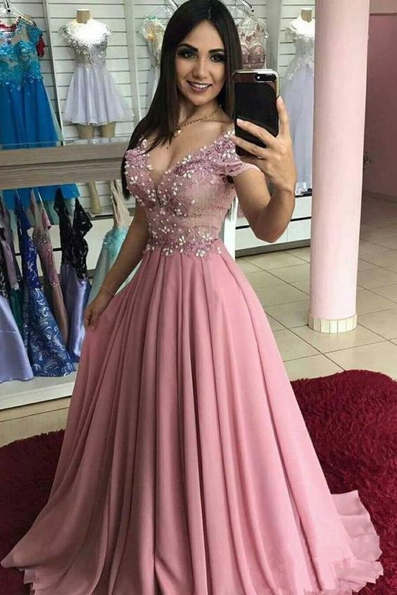 Chic Cap Sleeves V Neck Blush Pink Lace Pearls Long Formal Prom Dresses Evening