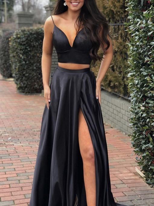 Spaghetti straps A-line two-piece evening dress 2020 Prom Dresses Evening Dress