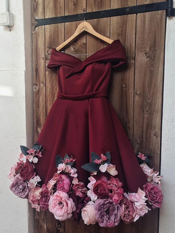 A Line Off Shoulder Short Burgundy Floral Prom Dresses Graduation Cocktail Dress