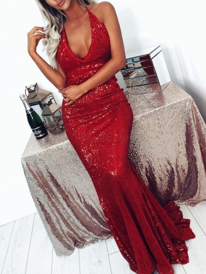 Charming V-neck Sleeveless Lace Evening Dress 2020 Prom Dresses G3950