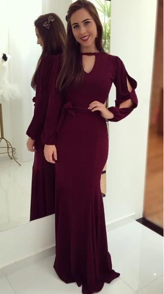 Burgundy evening dress , Elegant Long Sleeves Prom Dress , prom dress