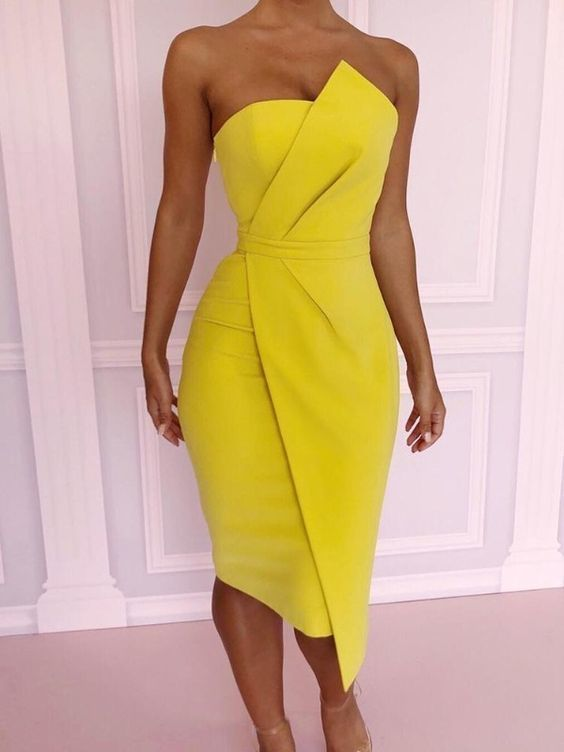 Sexy Party Dress Cocktail Dress Yellow Homecoming Dress