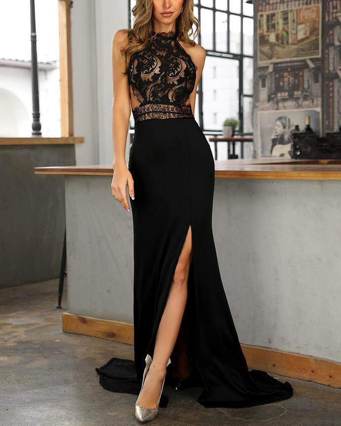 Eyelash Lace Splicing Open Back Evening Dress 2020 Lace Prom Dress Hot F1540