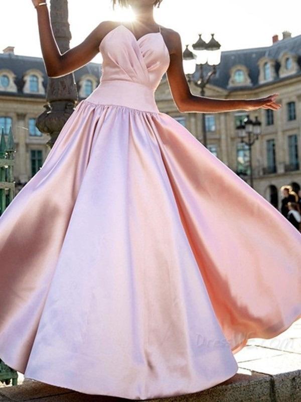 Spaghetti Straps A-Line Pleated Sleeveless Evening Dress 2020 Hot Prom Dress