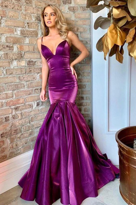 Mermaid Spaghetti Straps Sweep Train Purple Prom Dress P2192