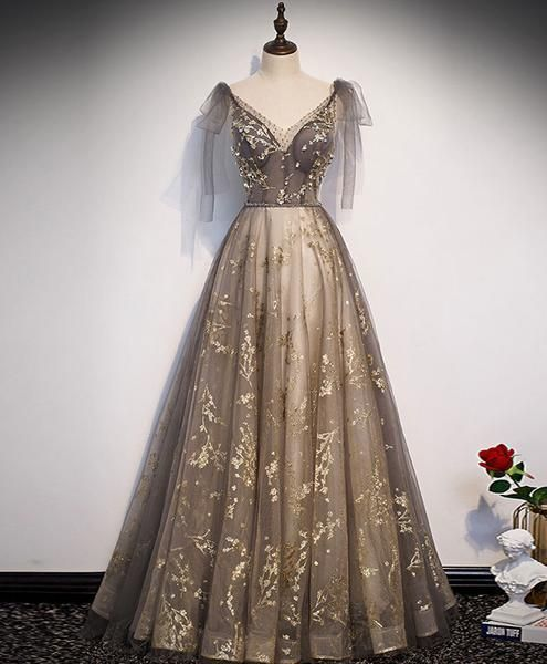 Elegant v neck gray gold tulle lace long prom dress tulle formal dress P2194