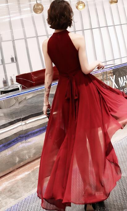 Wine Red New Style High Low Party Dress, Burgundy Homecoming Dress
