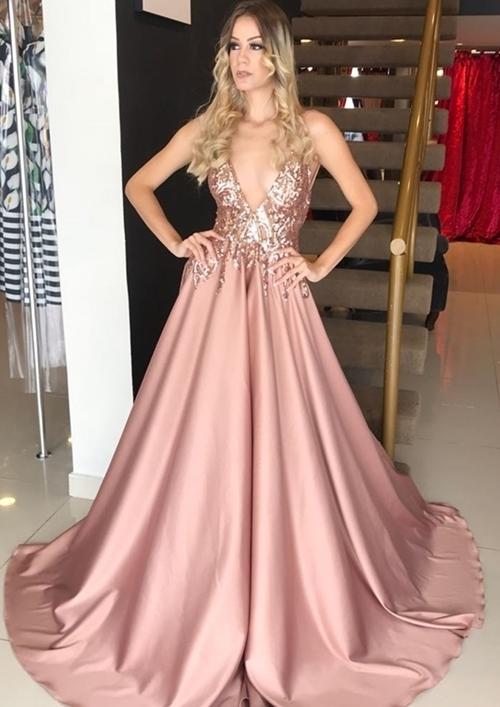 Copy of V Neck Spaghetti Straps Blush Sequins Lace Long Prom Dresses Elegant