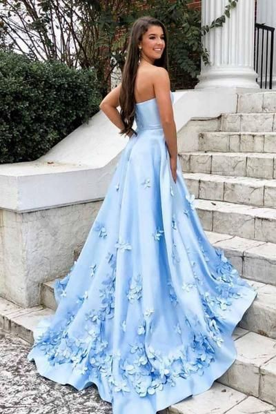 A-Line Sweetheart Sweep Train Light Blue Prom Dress with Appliques Pockets Prom