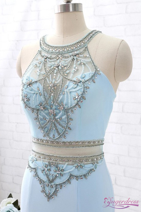 Two Piece Light Blue Mermaid Prom Dress with Rhinestones P2199