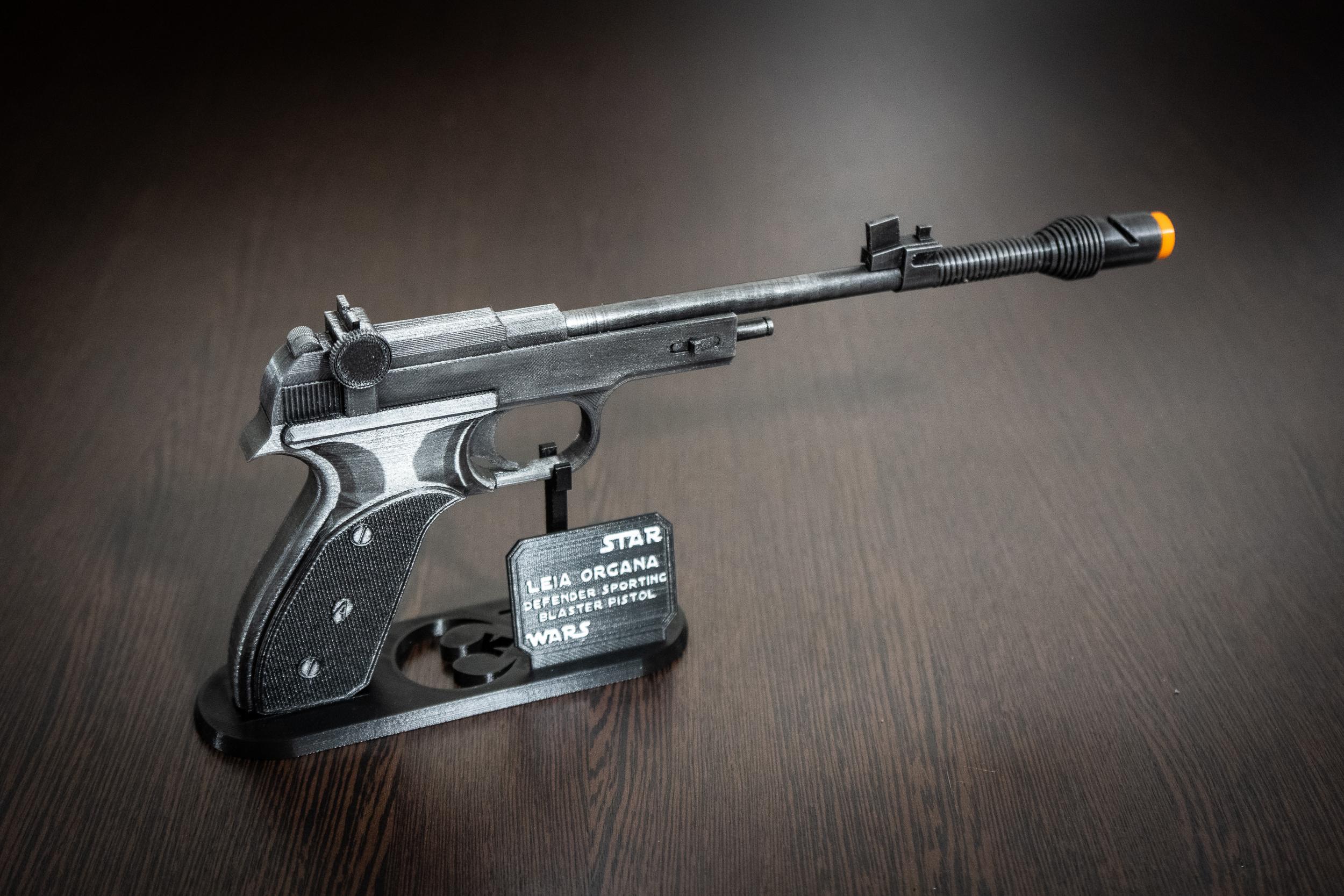 STL file for 3D Printing 3d Printable Star Wars Pistol Replica Prop for Cosplay Princess Leia Defender Sporting Blaster 3D Model