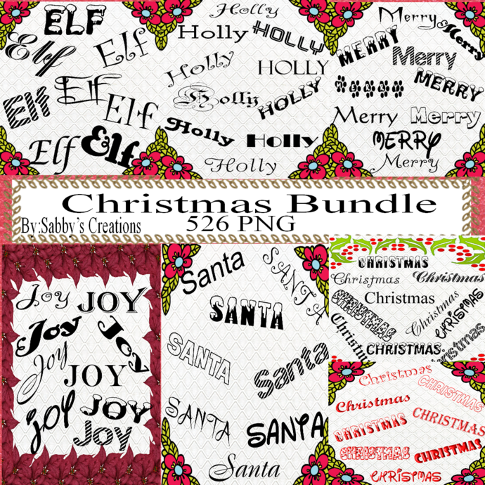 Christmas Bundle Word Fonts 1-Digital ClipArt-PNG-Art Clip-Text-Gift