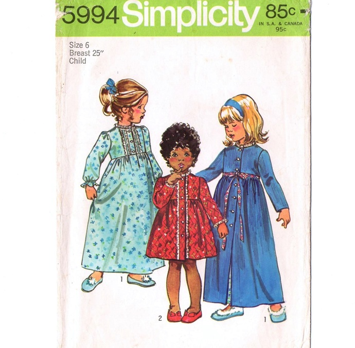 Simplicity 5994 Girls Nightgown, Robe 70s Vintage Sewing Pattern Size 6 Chest 25