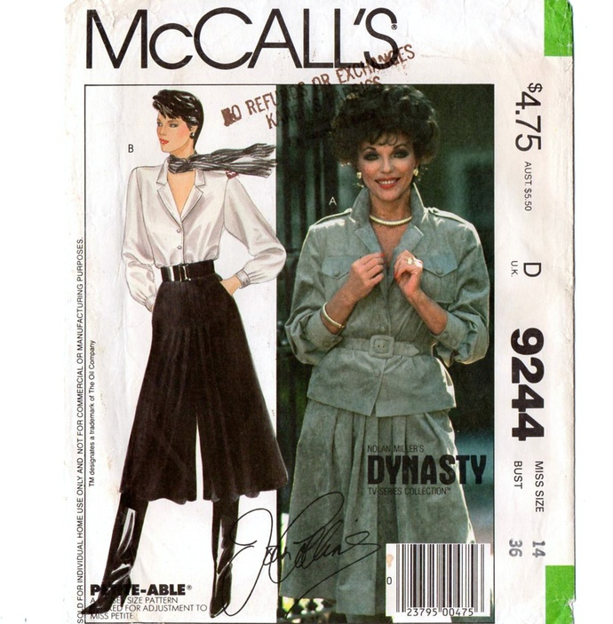 McCall's 9244 Misses Pleated Culottes, Shirt 80s Vintage Sewing Pattern Uncut