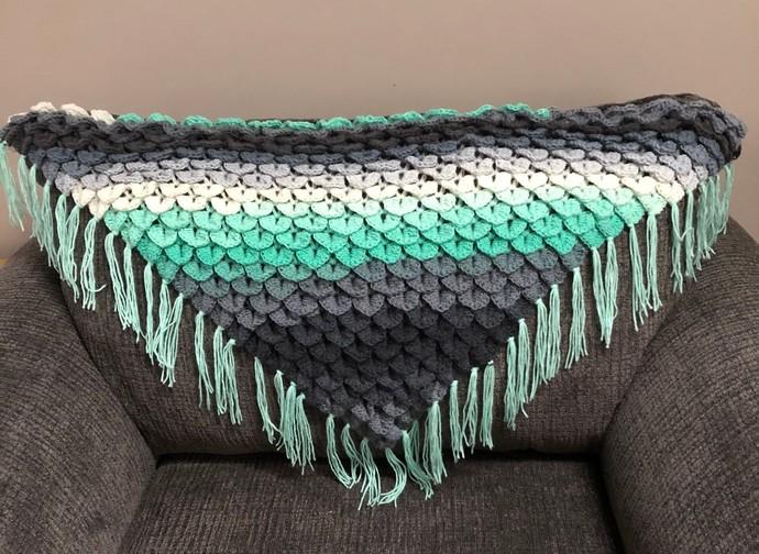 Crocodile Stitch Crochet  Mandala Shawl,Genie Shawl, Handmade Shawl, Wrap,