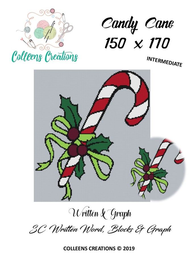 Candy Cane Crochet Written Word, Color Blocks, and Graph Design