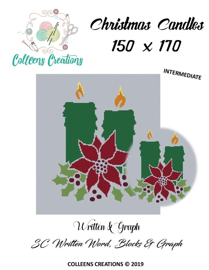 Christmas Candles Crochet Written Word, Color Blocks, an Graph Design