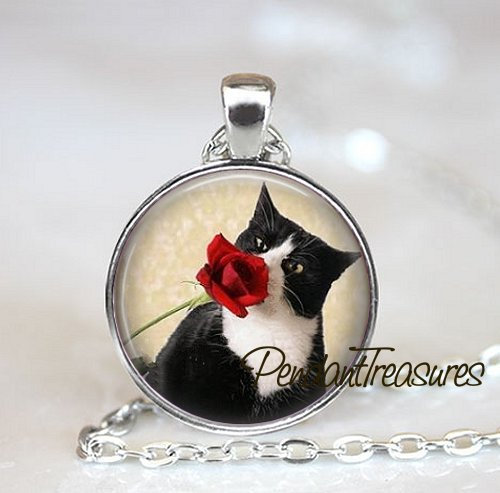 TUXEDO CAT Necklace, Cat Necklace, Cat Pendant, Cat Jewelry, Cat Charm, Rose