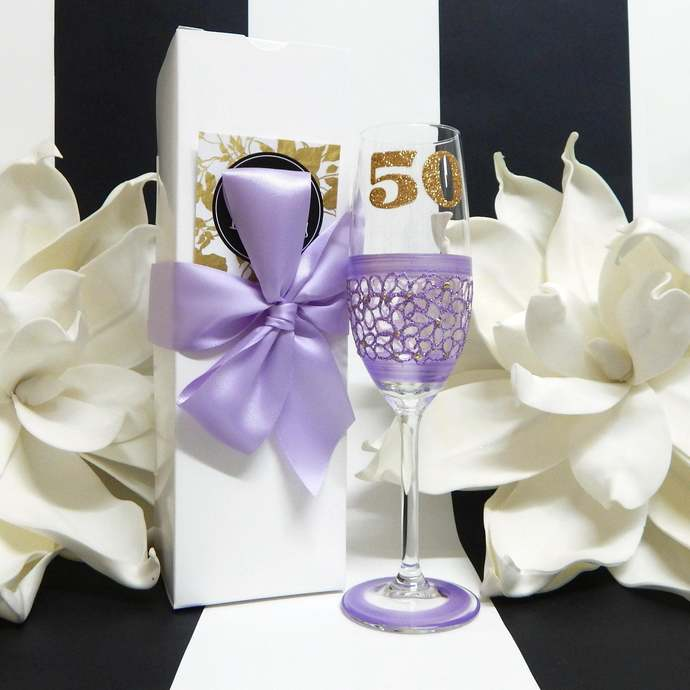 50th Birthday Champagne Toasting Flute Glass