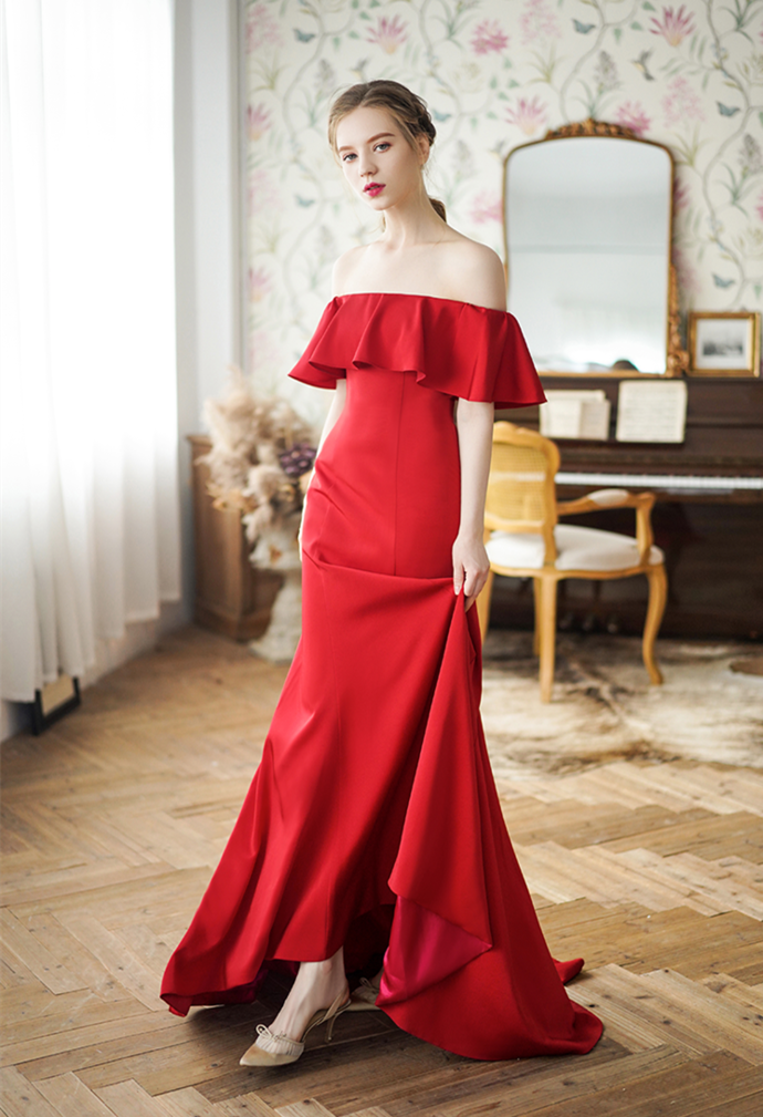 Red Prom Dress,A-Line Prom Gown, Off the Shoulder Prom Dress, Satin Prom Gown