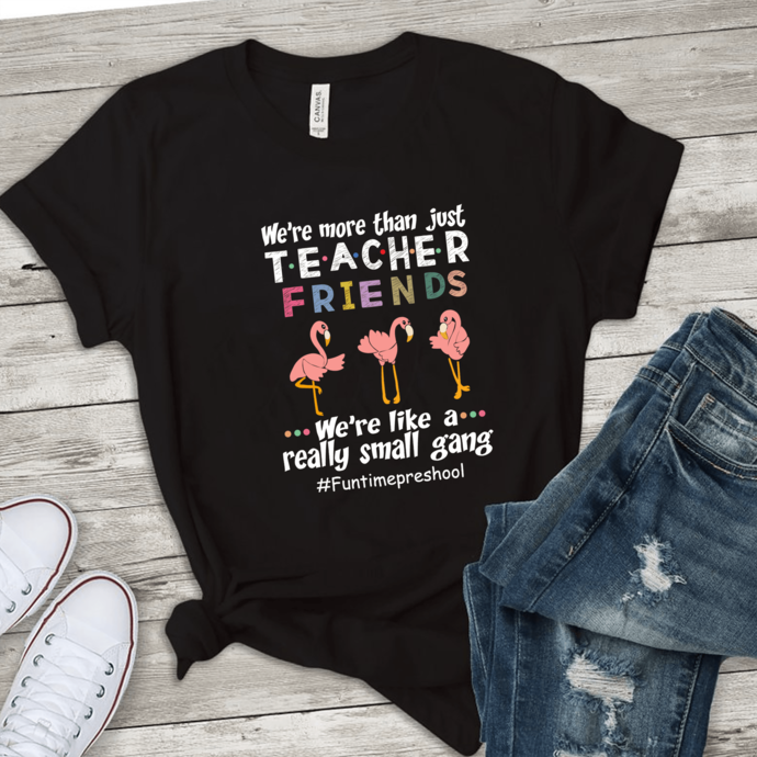 We are more than just teacher friends we're like a really small gang , flamingo
