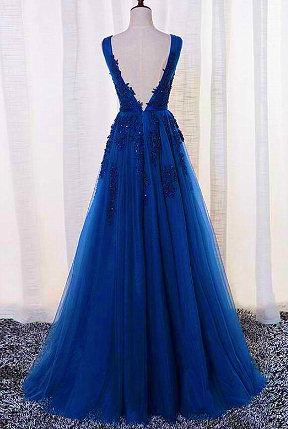 Elegant Handmade Royal Blue Long Senior Prom Dress, Tulle with Lace Party Dress