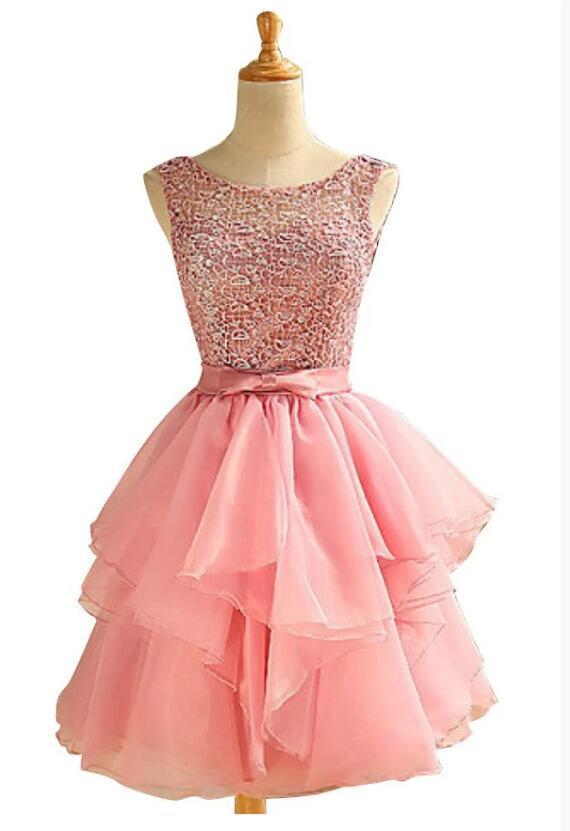 Lovely Round Neckline Lace Top Short Prom Dress, Organza Homecoming Dress