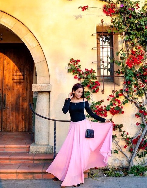 Women Pink Chiffon Maxi Skirt, Pink Long Skirt, Bridesmaid Wedding Party Skirt