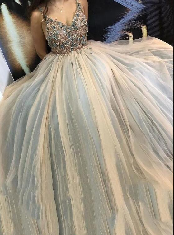 Spaghetti Straps Tulle Prom Dress with Appliques & Beading Formal Long Evening