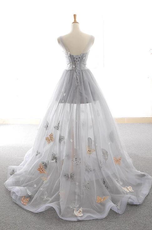 LIGHT CHAMPAGNE TULLE LACE LONG PROM DRESS CHAMPAGNE EVENING DRESS