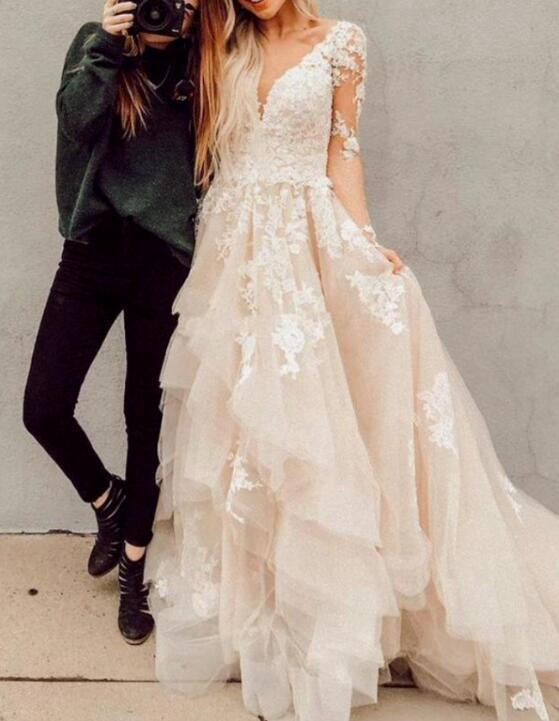 V Neck Long Sleeves High Low Lace Champagne Wedding Dresses With Train,