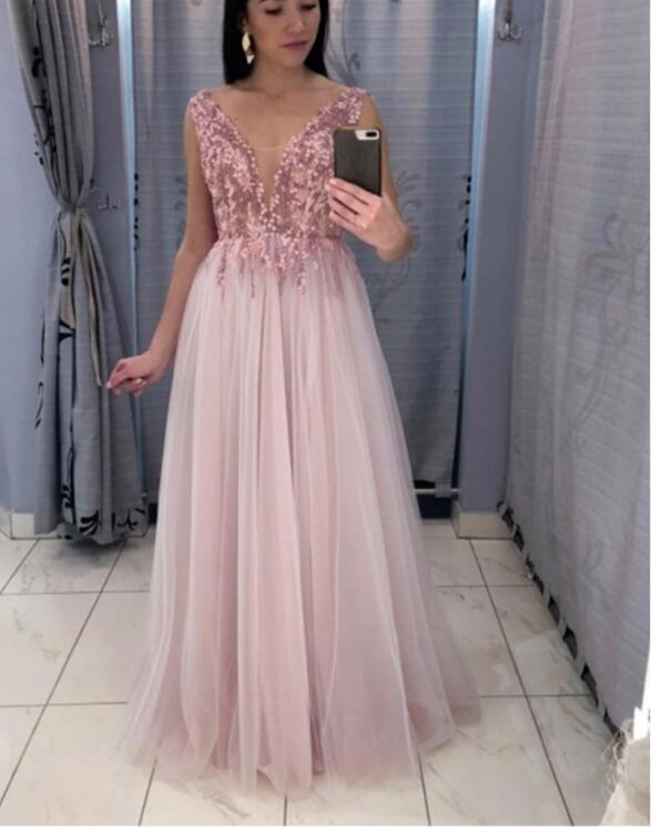 A-Line V-Neck Floor-Length Pink Prom Party Dress with Sequins P2217