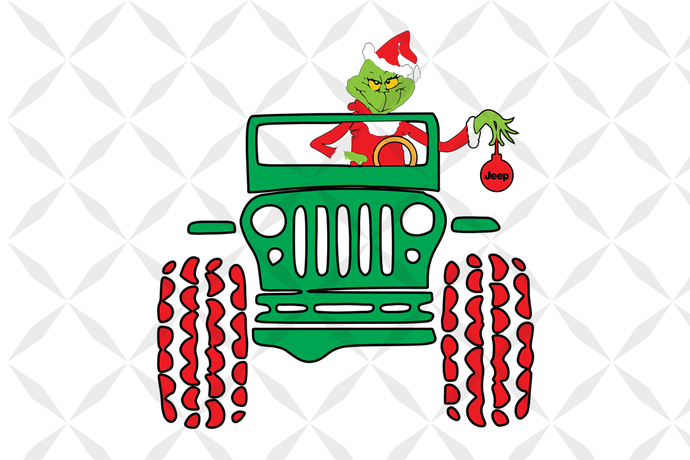 Grinch driving jeep, grinch, grinch svg, the grinch, dr seuss svg, dr seuss