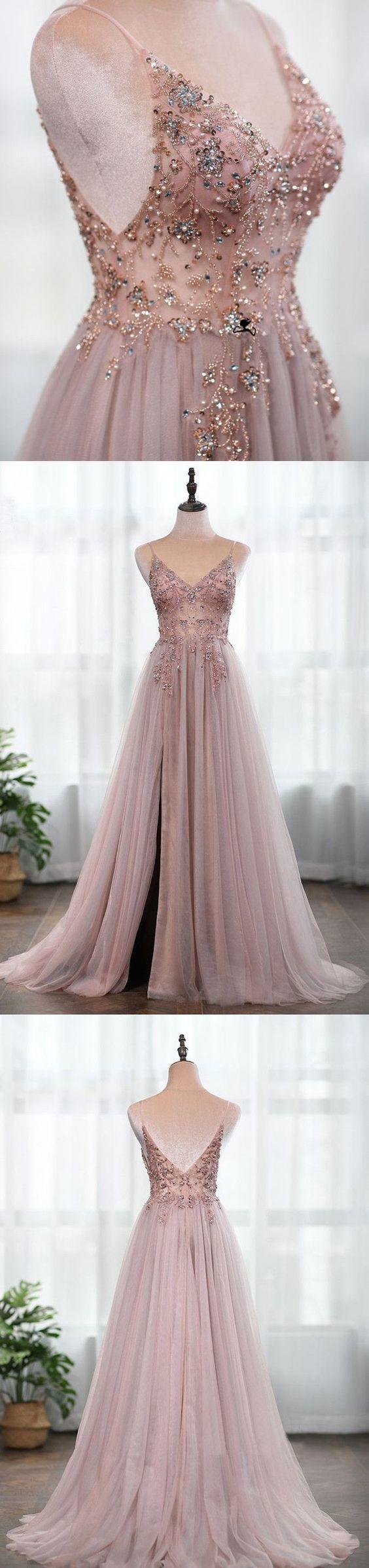 A Line Spaghetti Straps Grey Long Prom Dress With Beading Split P2220